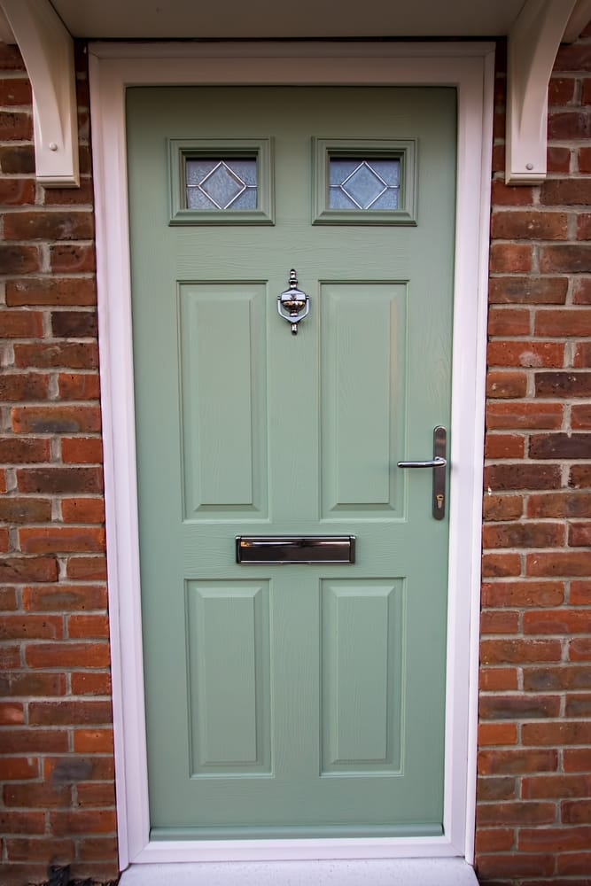 Chartwell Green uPVC Front Door with Chrome handles